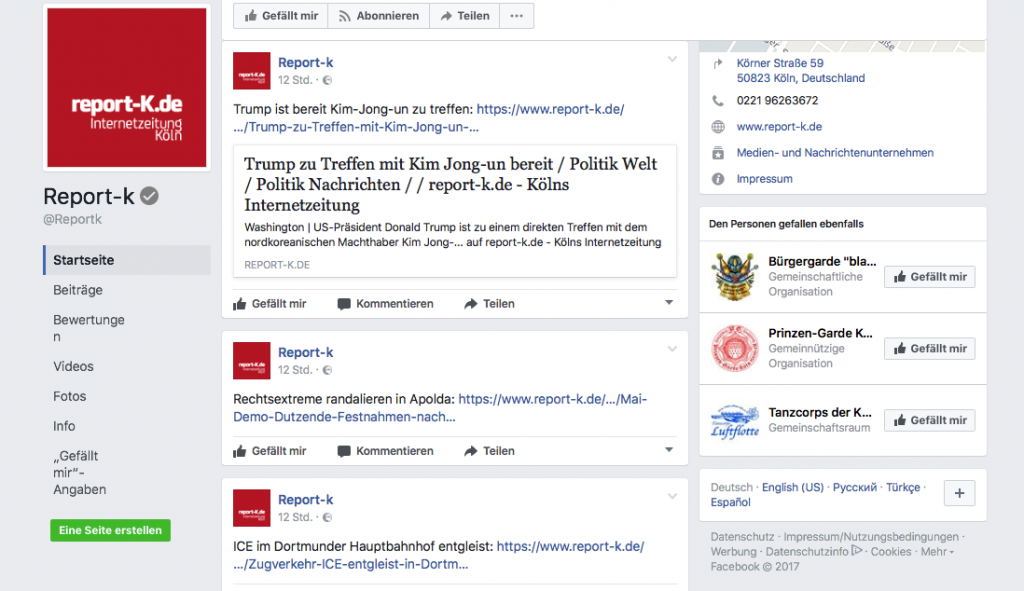 Screenshot Facebook Page report-k