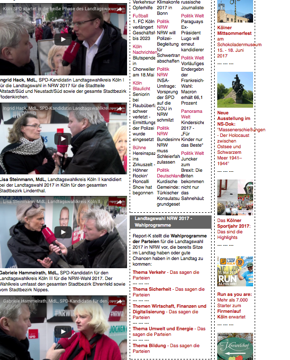 Screenshot report-K, Videointerviews mit Kandidaten zur Landtagswahl 2017