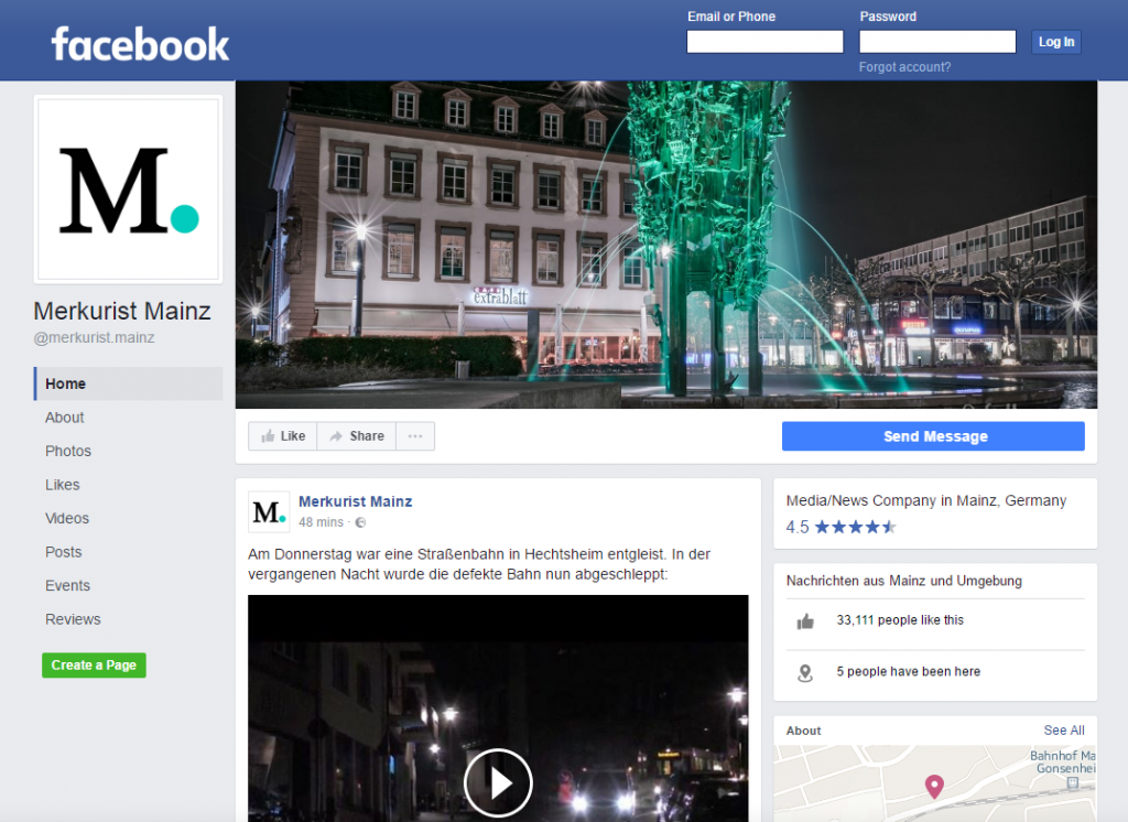 Screenshot Merkurist Facebook Page