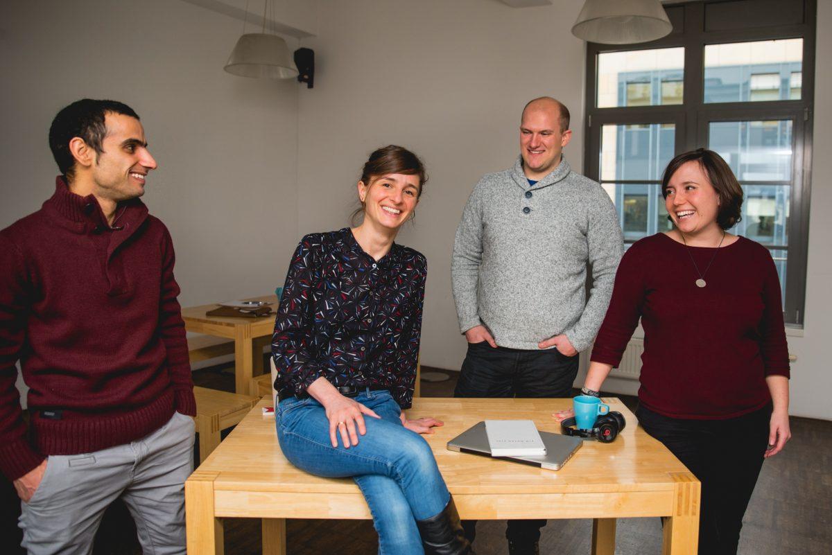 Team von Newscomer: Thaer Abughoush, Ann-Kathrin Seidel, Patrick Bauer, Jessica Schober v.l.