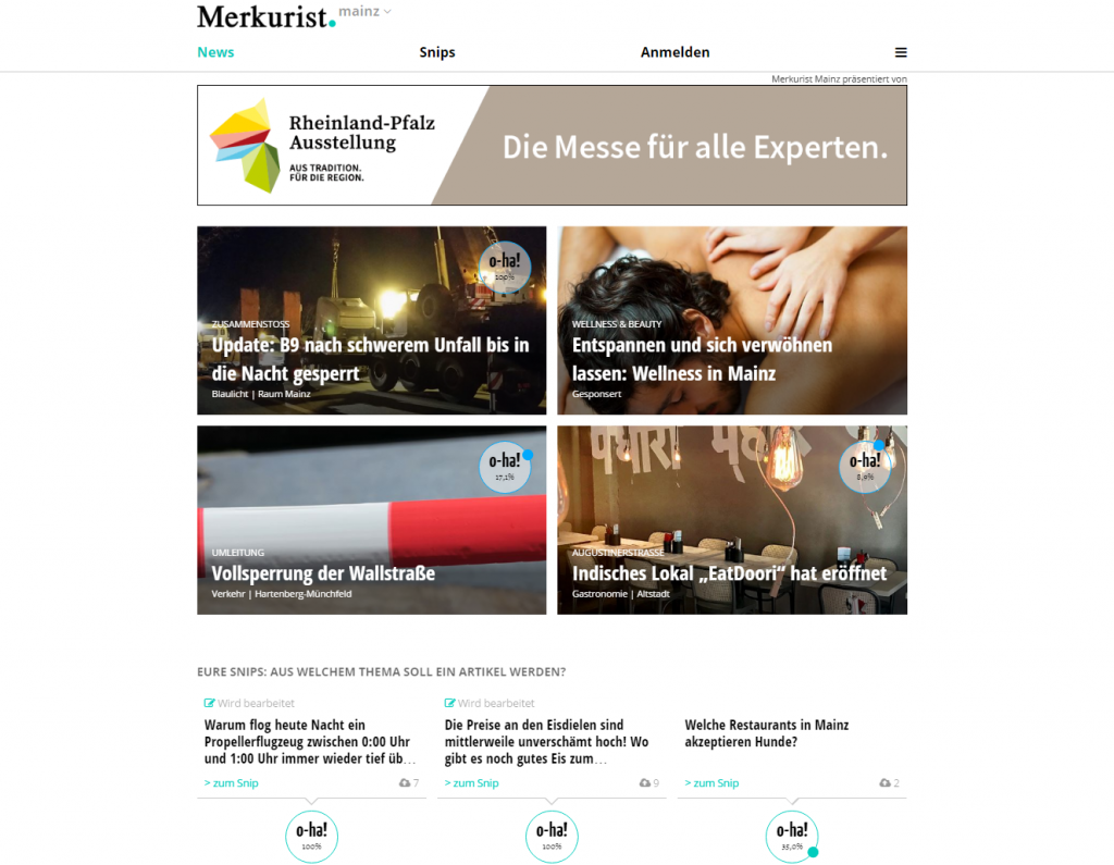 Screenshot Startseite Merkurist Mainz, Vier Meldungen mit Bild, darunter Abstimmungsmöglichkeit für neue Themen