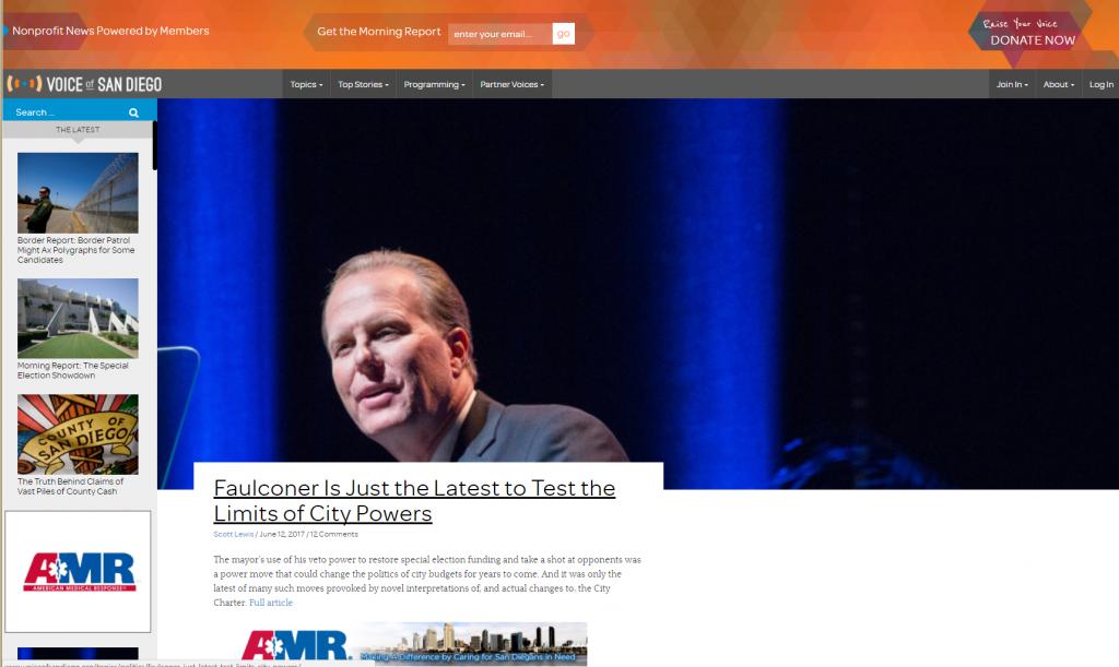Screenshot Startseite Voice of San Diego