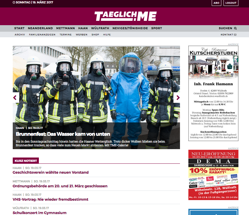 Screenshot Startseite Taeglich.ME, Foto von Feuerwehrleuten in Schutzkleidung