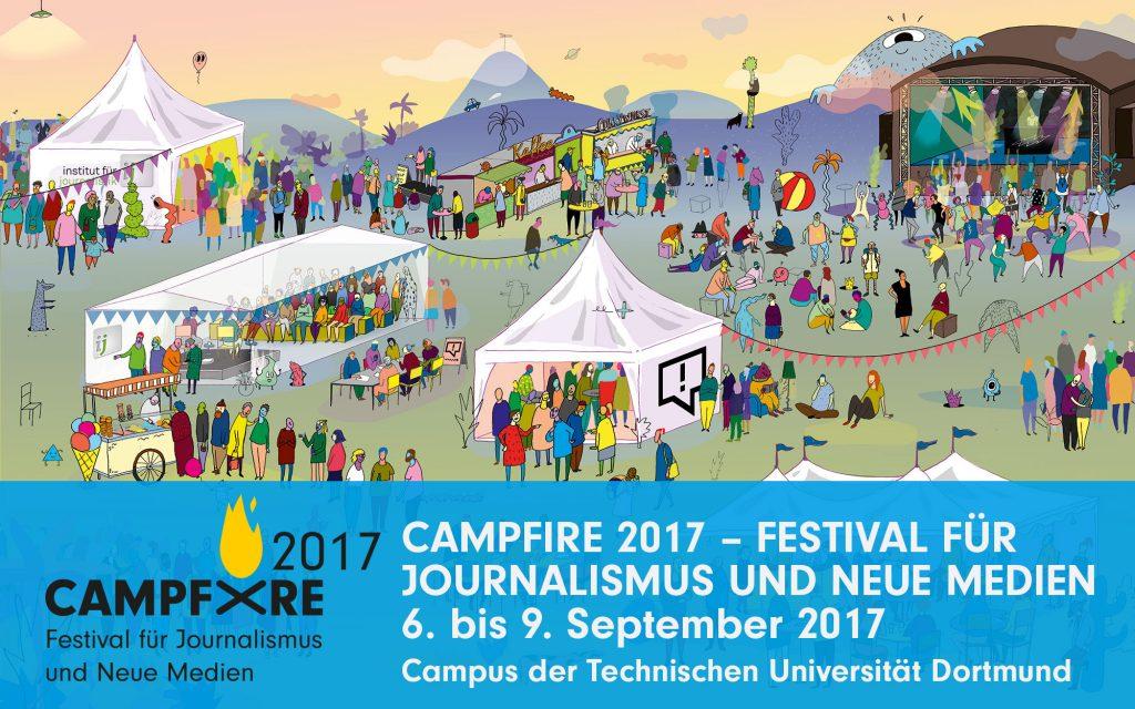 Visual und Logo Campfire Festival für Journalismus und neue Medien