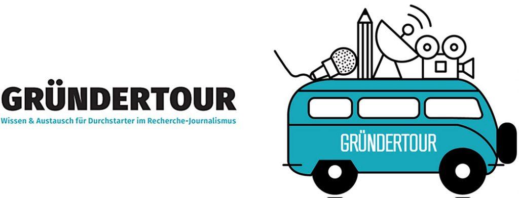 Visual Gründertour Bus und Schriftzug