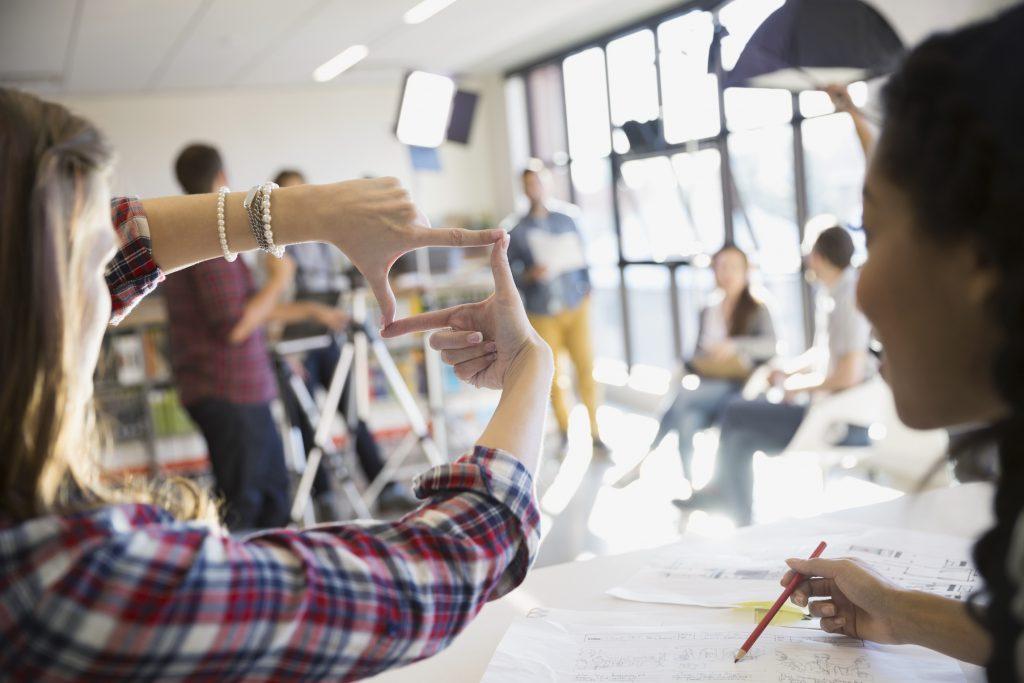 Fotoshooting kreative Arbeitsstituation Bildausschnitt auswählen
