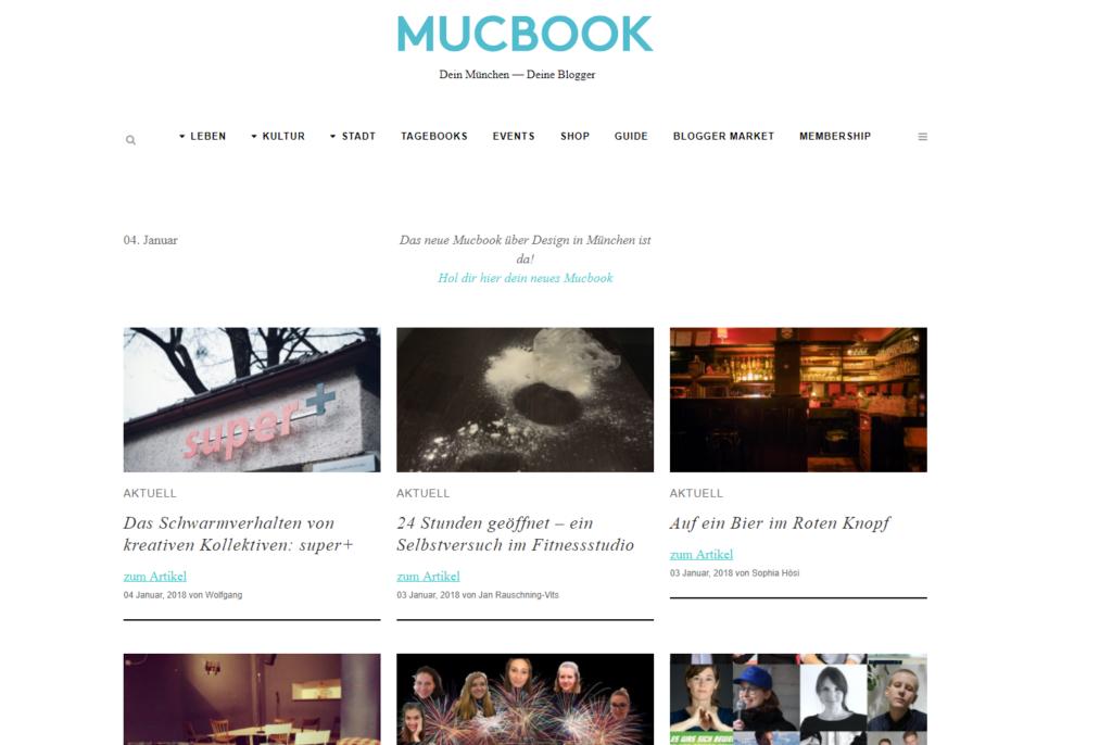 Startseite des Münchener Stadtmagazins Mucbook