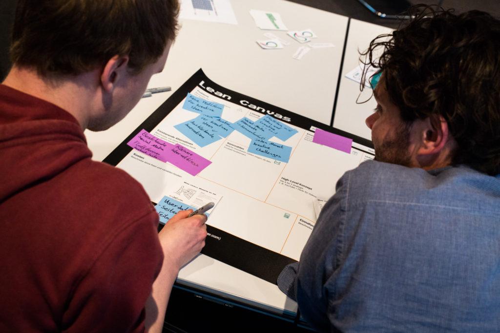 Teilnehmende des Ideasprint beraten sich.