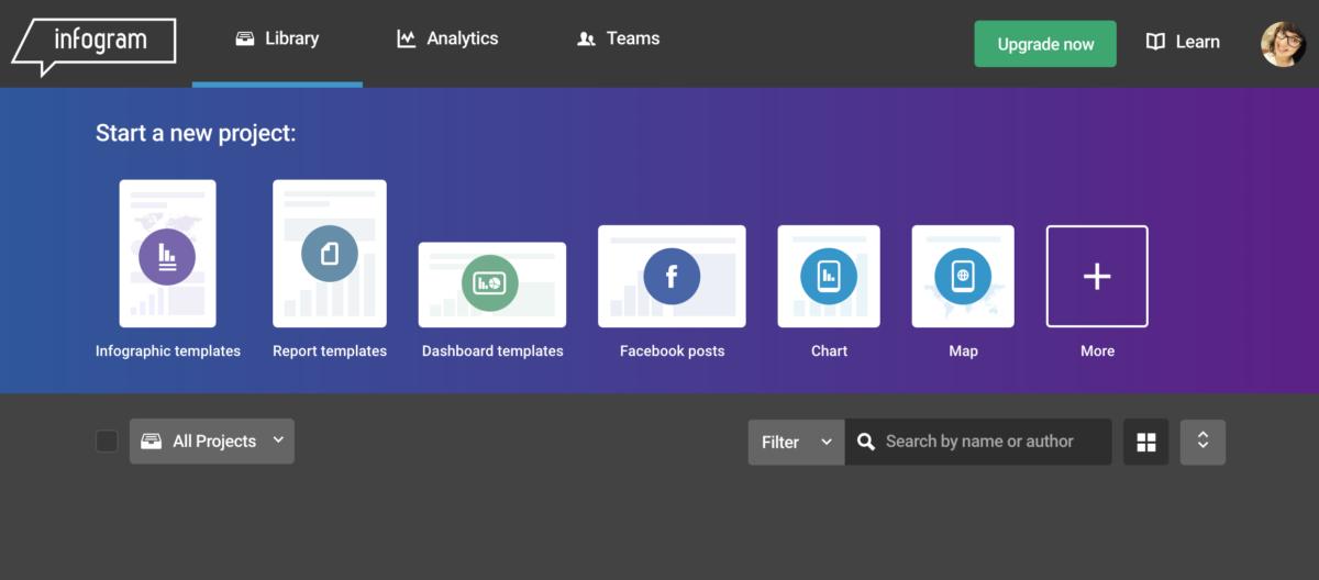 Der Screenshot zeigt die einzelnen Template-Kategorien.