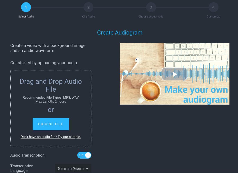 Der Screenshot zeigt die Übersicht, in der das Audiogram erstellt werden kann.