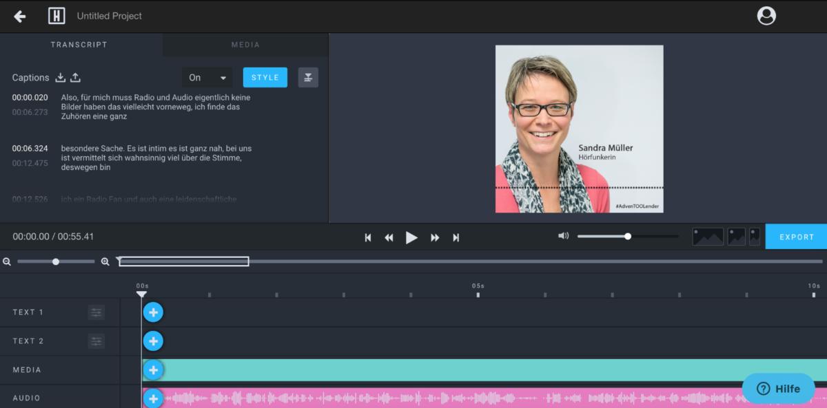 Der Screenshot zeigt den Editor für den Feinschliff.