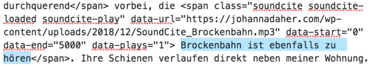 Ein Screenshot des Embed-Codes.