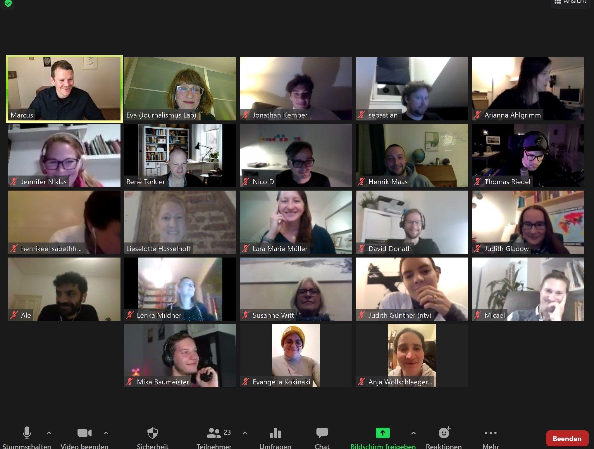Screenshot einer Videokonferenz beim Hackathon 2020.