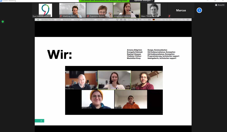 Screenshot einer Präsentation beim Hackathon 2020.