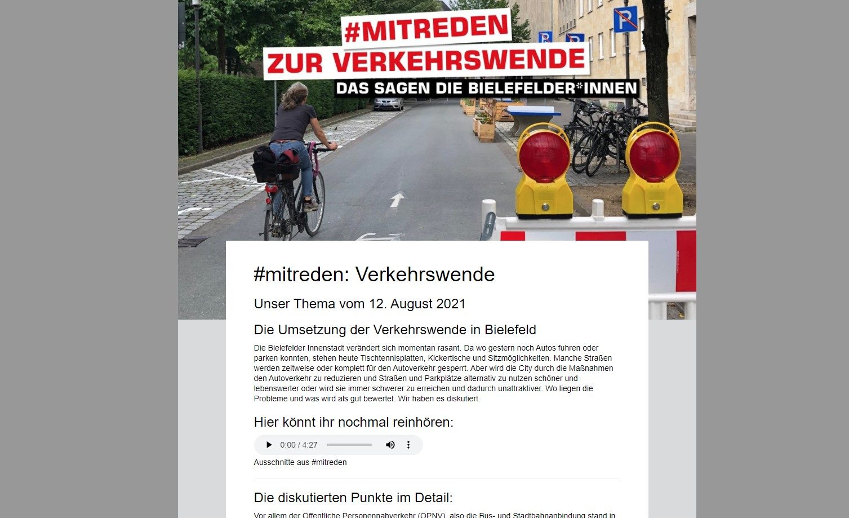 Screenshot Website Radio Bielefeld #mitreden Verkehrswende